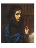 Portrait of a Young Scholar Wearing a Blue Cloak and a Cap Prints by Angelo Caroselli