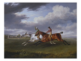 Two Racehorses Eith Jockeys Up, Exercising in a Landscape Giclee Print by Charles Towne