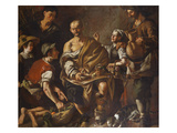 Peasants Mocking an Old Man Giclee Print by Miguel March