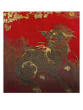 A Large Chinese Red Lacquered Wood Rectangular Panel Depicting a Seated Kylin with Head Turned to… Prints