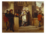 Faust and Mephistopheles Waiting for Gretchen at the Cathedral Door Prints by Wilhelm Koller