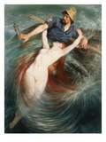 A Fisherman Engulfed by a Siren Prints by Knut Ekvall