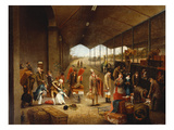 Passengers Boarding a Train, Probably at Westland Row Station, Dublin Giclee Print by English School