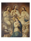 The Coronation of the Virgin with the Holy Trinity Art by  Mexican School