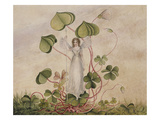A Fairy Standing Among Clover Giclee Print by Amelia Jane Murray