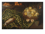 Still-Life with Basket of Fruits on a Table; Nature Morte Aux Paniers De Fruits Et De Fleurs Sur… Giclee Print by Francesco Fieravino (Circle of)