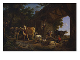La Sortie Des Bestiaux : a Barn on a Wooded Landscape with Children Playing on a See-Saw and Giclee Print by Jean-Louis Demarne