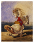Rearing Horse; Cheval Cabre Art by Eugene Delacroix (Attr to)