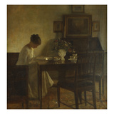 An Interior with a Woman Reading at a Table Planscher av Carl Holsoe