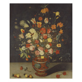 Roses, Tulips, Lilies, an Iris, a Fritillary and Other Flowers in a Painted Vase with Fruit on a… Prints by Daniel Seghers