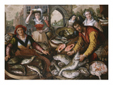 The Four Elements: a Fishmonger's Stall in a Town with the Miraculous Draught of Fishes Beyond -… Giclee Print by Joachim Beuckelaer