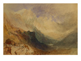 An Alpine Valley Probably the Val D'Aosta Poster by William Turner