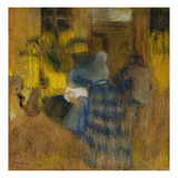 Interior Yellow and Blue, Cat and Child; Interieur Jaune Et Bleu, Chat Et Enfant Kunstdrucke von Edouard Vuillard