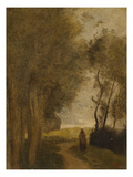 Road at Lisiere De Bois; Chemin En Lisiere De Bois Print by Jean-Baptiste-Camille Corot