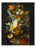 Tulips, Roses, Hyacinth, Auricula & Other Flowers in a Sculpted Urn on a Stone Pedestal in a Niche Giclee Print by Jan van Huysum (Follower of)