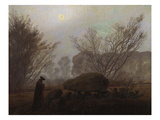 A Walk in the Mountains; Spaziergang in Der Abenddammerung Prints by Caspar David Friedrich