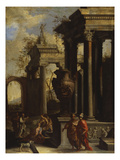 Capricci of Classical Ruins with Water Carriers, Philosophers and Noblemen (Right Panel) Giclee Print by Giovanni Ghisolfi (Circle of)