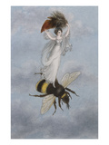 A Fairy Carrying a Feather Standing on a Bee Giclee Print by Amelia Jane Murray