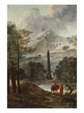 A Mountainous Landscape with an Obelisk; Un Paysage Montagneux Avec Un Obelisque Prints by Hubert Robert