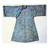 A Lady's Informal Robe of Pale Green Silk, Woven with Kossu Prunus and Butterflies, with Ivory… Prints