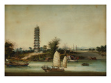 Whapoa Pagoda Surrounded by Sailing Craft, Including a Fuzhou Seagoing Junk & a Marine Police Junk Print by Tingqua (Studio of)