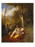 An Algerian Woman and Her Servant in a Garden Reproduction procédé giclée par Charles Theodore Frere