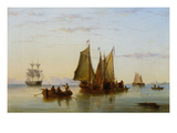 Fishing Boats and Other Vessels on the Scheldt Near Rotterdam Giclee Print by Henry Redmore
