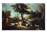 The Hunt with Wolf; La Chasse Au Loop Premium Giclee Print by Jean Baptiste Oudry (Attr to)