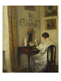 An Interior with a Girl Reading at a Desk Poster av Carl Holsoe
