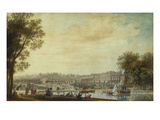 A View of the Grand Trianon, Versailles, with Figures and Vessels on the Canal Prints by Louis-Nicolas de Lespinasse