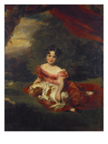 Portrait of Miss Julia Beatrice Peel Seated Full Length Wearing a Pink Dress with a Sash and… Lámina giclée por Thomas Lawrence