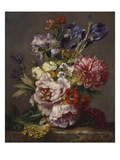Irises, Peonies and Other Flowers in a Vase on a Ledge Giclee Print by Lodewijk Johannes Nooijen