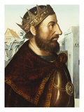 The Emperor Charlemagne (C.742-814), Bust Length, in Profile, in Armour, in an Elaborately… Print by Quentin Massys (Manner of)