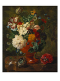 Summer Flowers in an Urn with a Bird Nest on a Marble Ledge Premium Giclee Print by Gerard Van Spaendonck