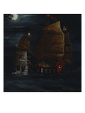 A Chinese Junk in a Stiff Breeze Off a Rocky Island by Moonlight Posters