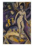 Female Nude with Badezuber; Weiblicher Akt Mit Badezuber Prints by Ernst Ludwig Kirchner