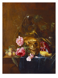 A Vanitas Still-Life with a Skull, a Conical Roemer,  a Dead Finch, Wheat, Grapes, Wild Roses and… Giclee Print by Nicolaes van Veerendael