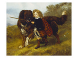 Master Egerton Macdona with His St. Bernard, Tell Giclee Print by Samuel John Carter