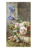 A Still Life with Irises and Roses in a Basket Giclee Print by Ermocrate Bucchi