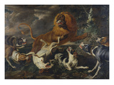 Hounds Attacking a Lion Print by Paul de Vos (Attr to)