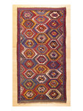 An Antique Gendje Rug, the Field with a Hexagonal Lattice of Panels Contain Premium Giclee Print