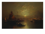 Shipping on the Lagoon, Venice at Sunset Giclee Print by Franz Richard Unterberger