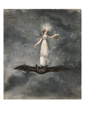 A Fairy Holding a Wand Standing on a Bat Giclee Print by Amelia Jane Murray