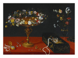 A Garland of Flowers in a Tazza, Jewels and Coins in a Japanese Black and Gold Lacquer Fumibako,… Giclee-vedos tekijänä Jan Bruegel the Younger