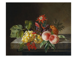 Peaches, Grapes, a Pineapple, Redcurrants and a Passion Flower in a Vase on a Ledge Giclee Print by Anna Plenge
