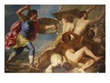 Samson Vanquishing the Philistines Giclee Print by Giovanni Francesco Romanelli (Circle of)