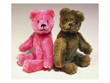 A Pink Schuco Scent Bottle Teddy Bearand a Green Schuco Compact Teddy Bear, Posters