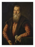 Portrait of a Bearded Man, in a Pink Doublet with Fur-Lined Waistcoat, Holding a Pair of Glasses… Art by Lorenzo Lotto