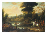 Hounds Bringing Down a Stag in a River Giclee Print by Jan Wyck