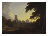 A View of Fountains Abbey, Yorkshire with a Shepherd and Two Figures in the Foreground Giclee Print by John Rathbone